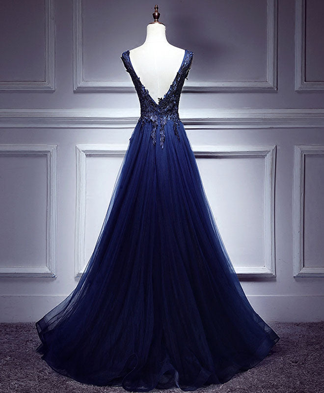 Dark blue lace v neck long prom dress, lace evening dress