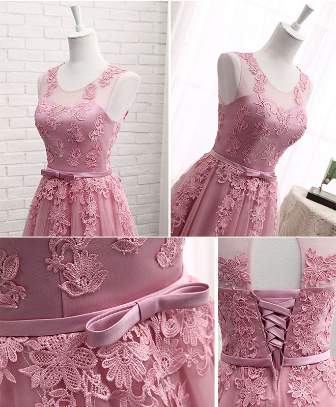 Pink round neck lace tulle prom dress, lace evening dresses