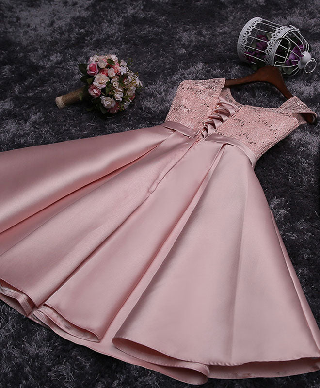 Cute lace sequins short prom dress, homecoming dress