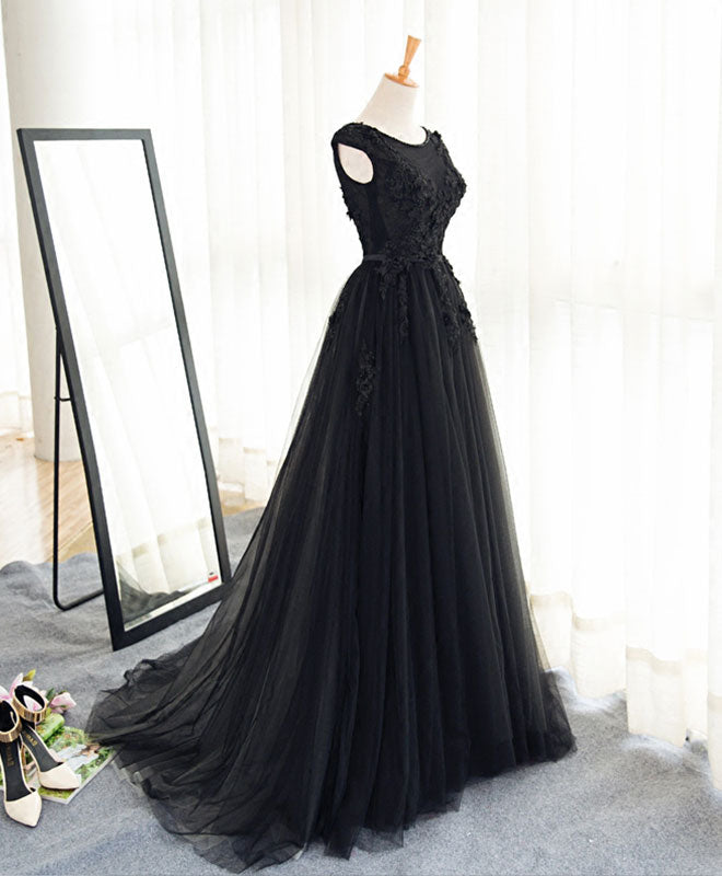 Black A line tulle lace long prom dress, evening dress