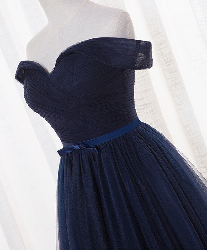 Dark blue A line tulle long prom dress, evening dress