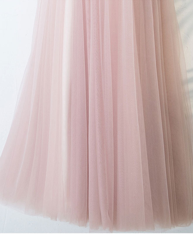 Pink v neck lace long prom dress, cheap evening dress