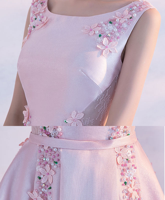 Pink satin lace tea length prom dress, pink evening dress