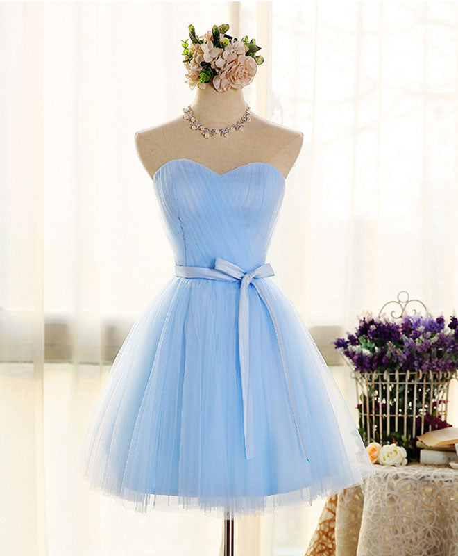 Cute sweetheart neck tulle short prom dress, bridesmaid dress