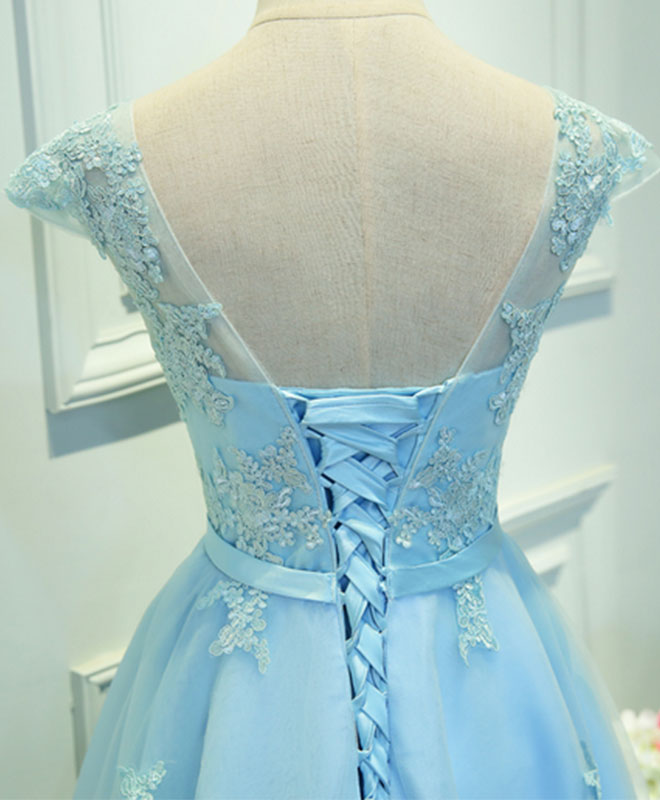 Light blue lace tulle short prom dress, homecoming dress