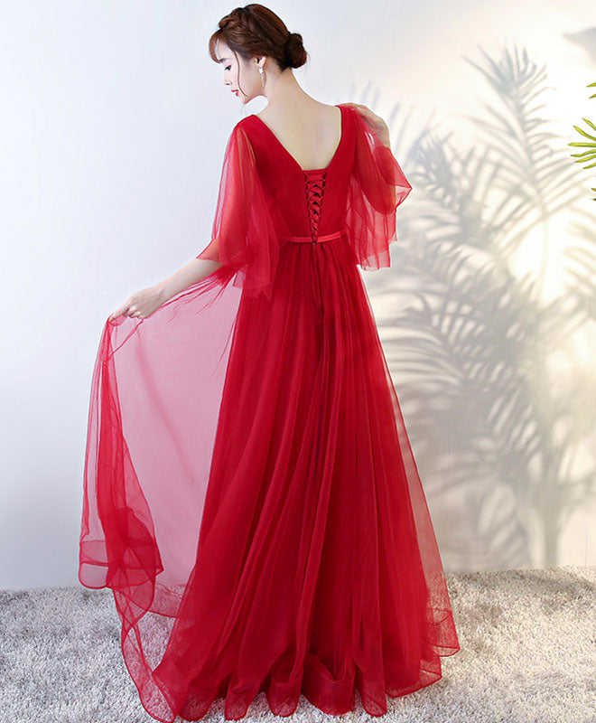 Simple v neck tulle long prom dress, evening dresses