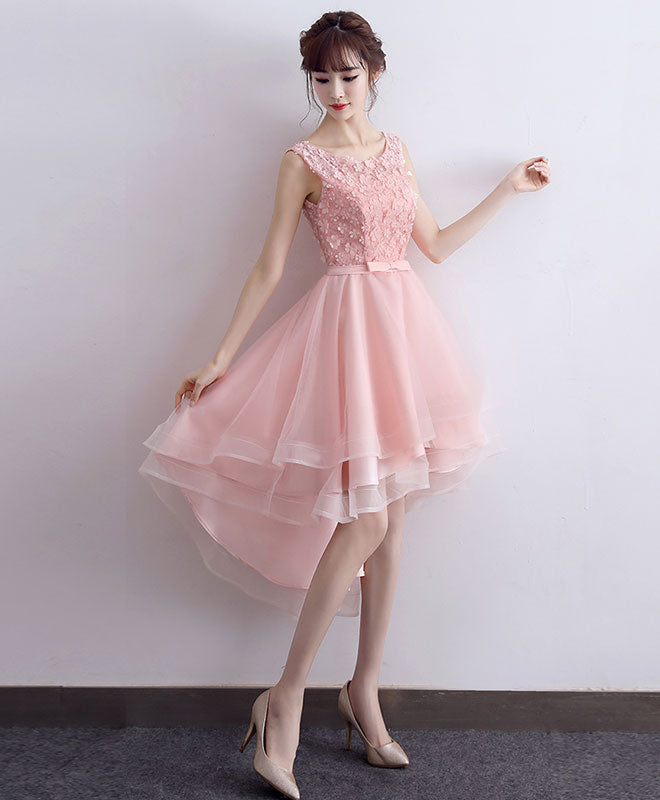 Cute pink lace short prom dress, high low evening dress