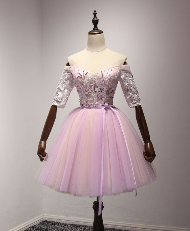 Pink tulle lace short A line prom dress, homecoming dress