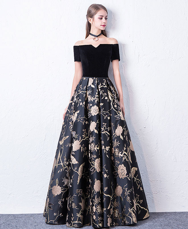 ecc6e14c52 Black off shoulder long prom dress