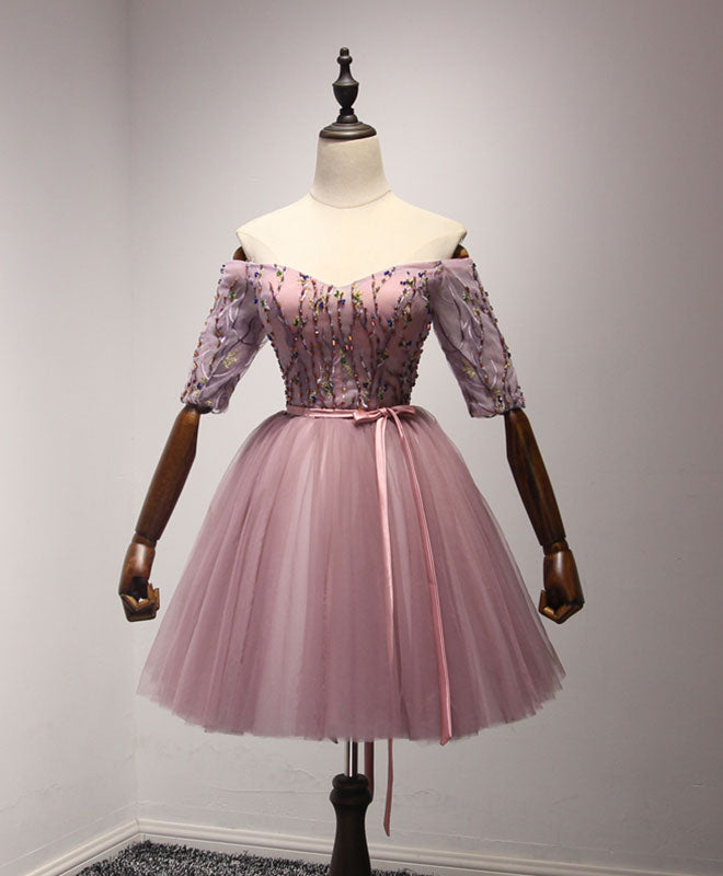 Cute pink tulle lace short prom dress, homecoming dress