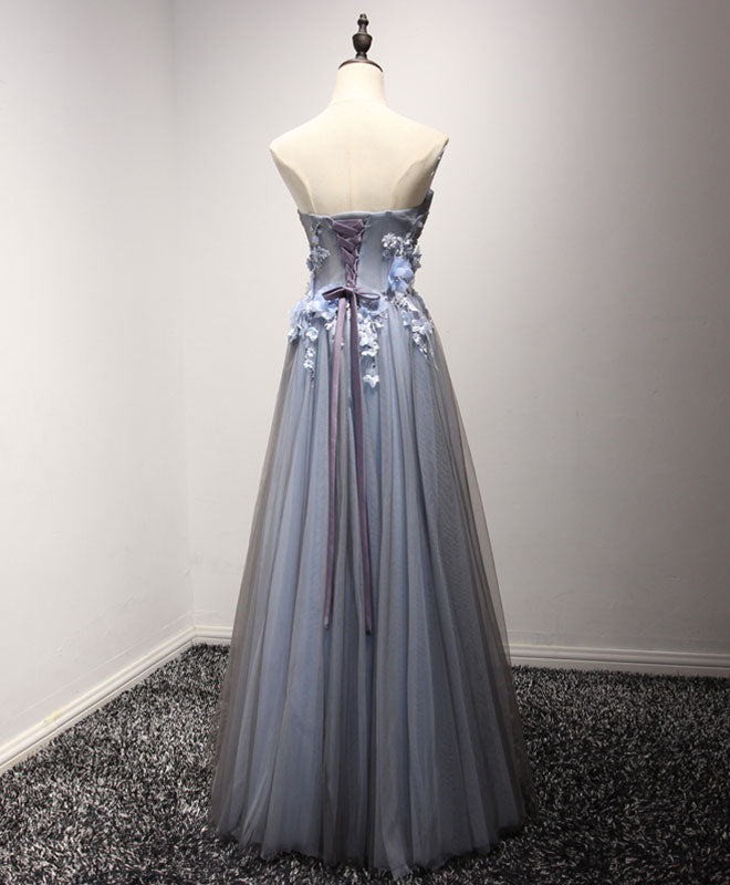 Gray sweetheart neck tulle long prom dress, formal dress