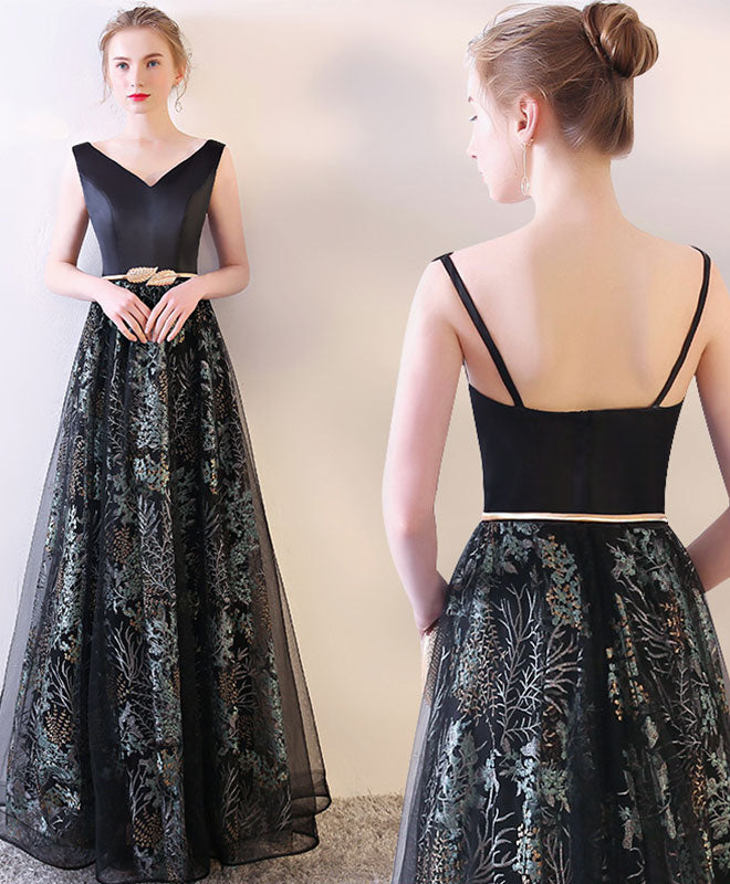 Black v neck long prom dress, black evening dress