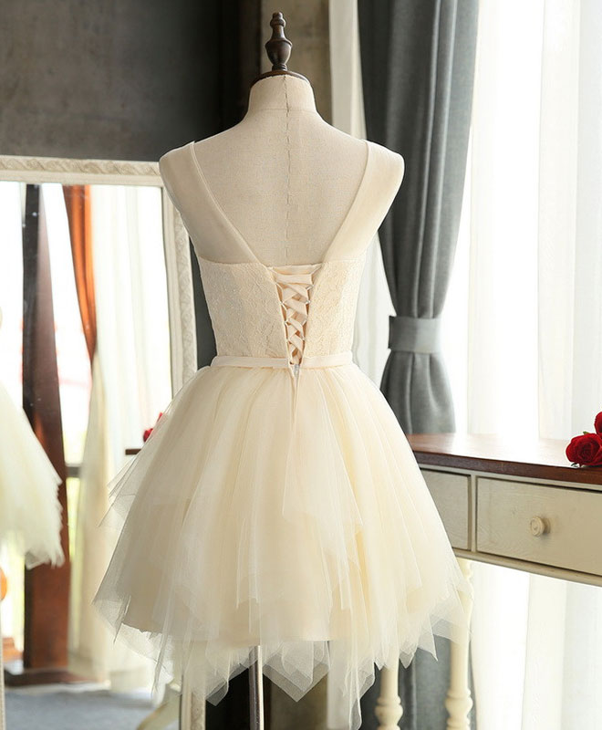 Cute A line tulle round neck mini prom dress, cheap evening dress