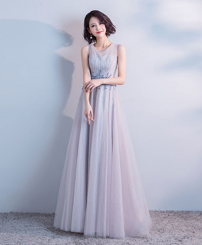 Gray round neck tulle long prom dress, evening dress