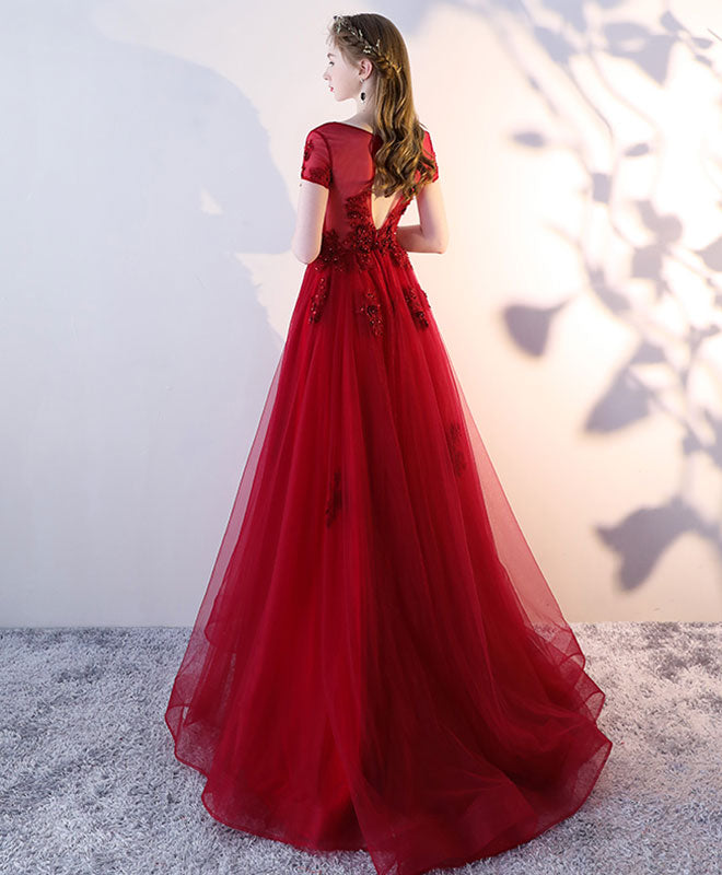 Burgundy tulle strapless long prom dress, burgundy evening dress