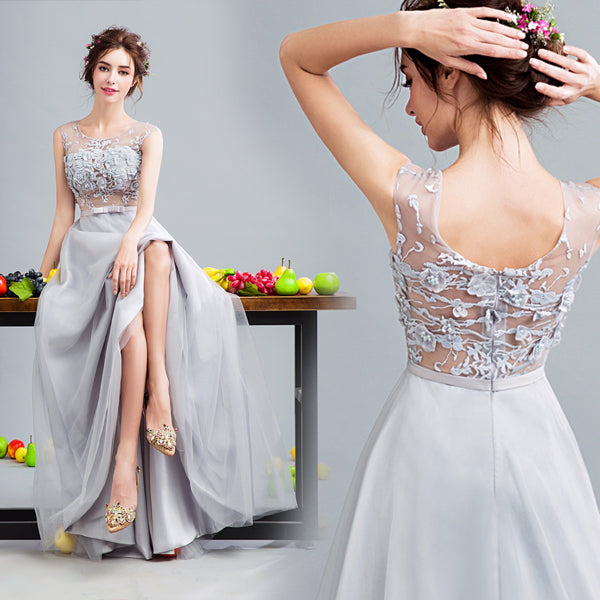 Gray tulle lace long prom dress, gray evenin gdress