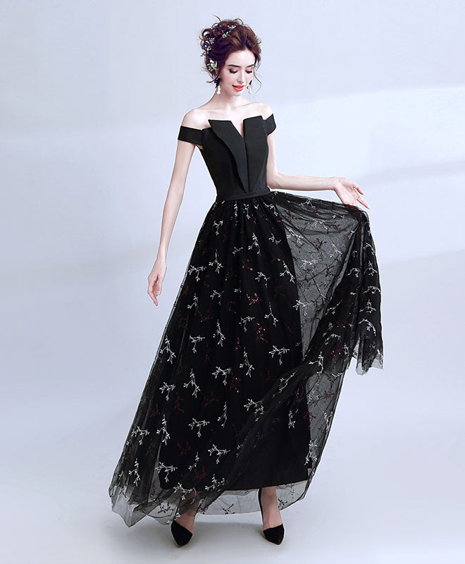 Chic black off shoulder prom dress, black evening dess