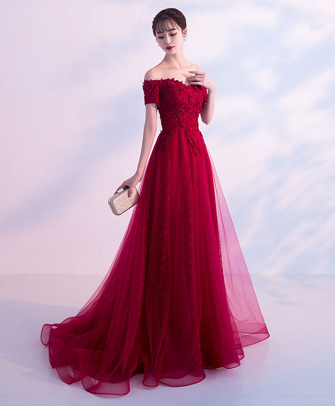 Burgundy tulle lace off shoulder long prom dress, evening dress