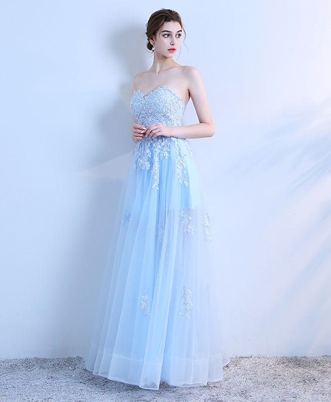 Sky blue lace long prom dress, lace evening dress
