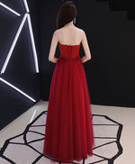 Burgundy round neck tulle long prom dress, lace evening dress