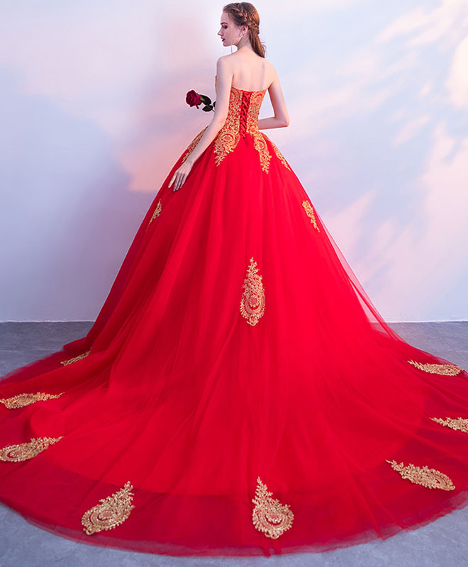 Red tulle lace long prom dress, red evening dress