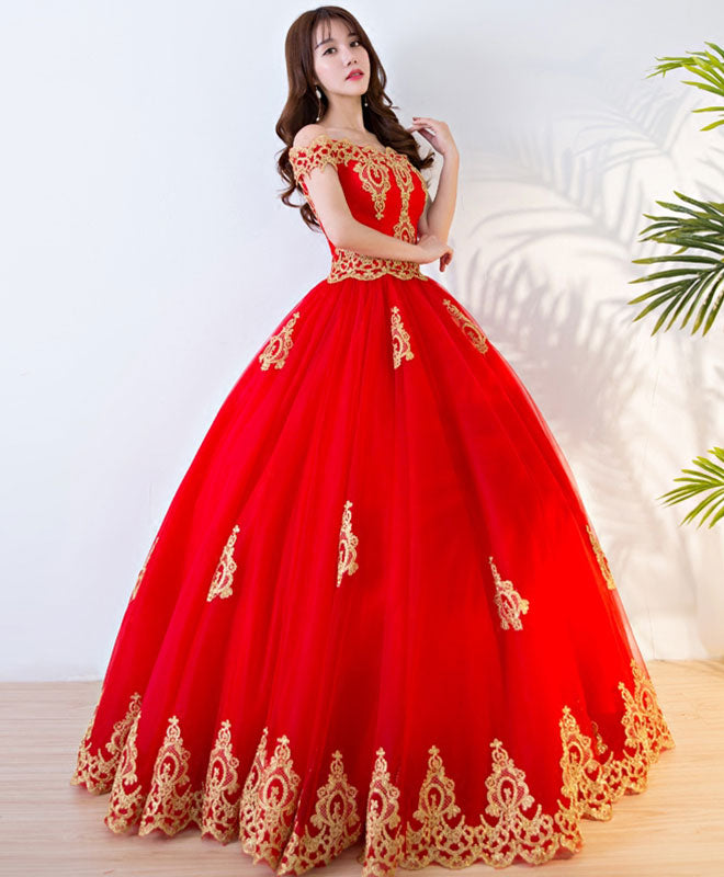 Red lace off shoulder long prom dress, sweet 16 dress