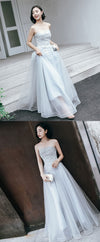 Gray tulle lace long prom dress, lace evening dress