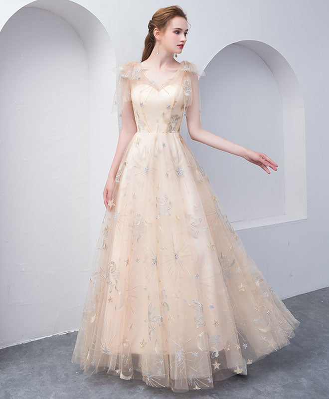 Champagne tulle long prom dress, champagne evening dress