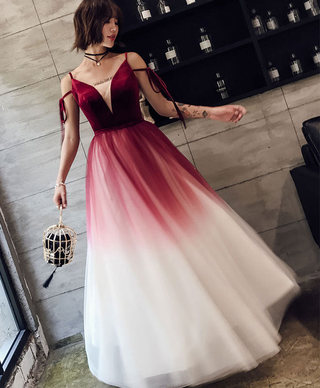 Unique burgundy v neck long prom dress, evening dress
