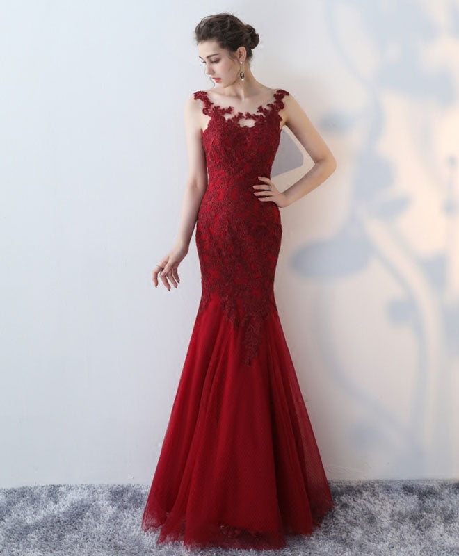 Mermaid burgundy lace long prom dress, lace evening dress