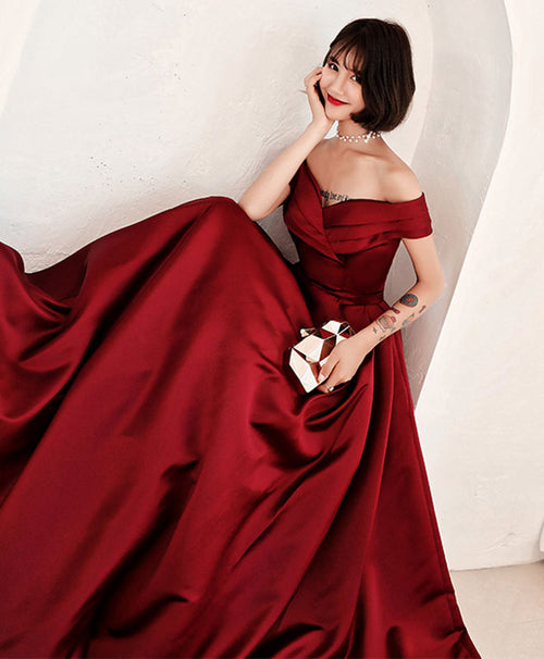 Burgundy v neck off shoulder long prom dress, evening dress
