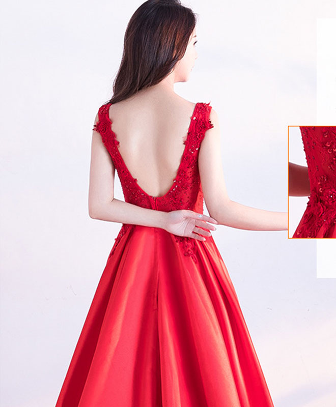 Red v neck lace long prom dress, lac evening dress
