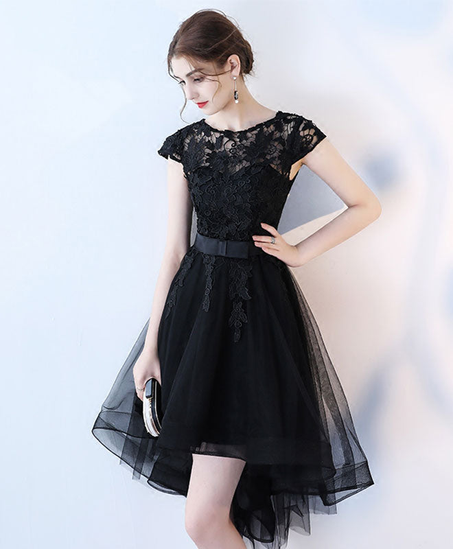 Black lace short prom dress, hight low evening dress