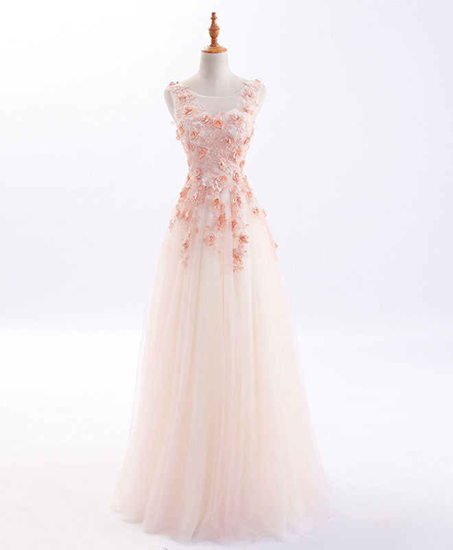 A line tulle applique long prom dress, evening dress