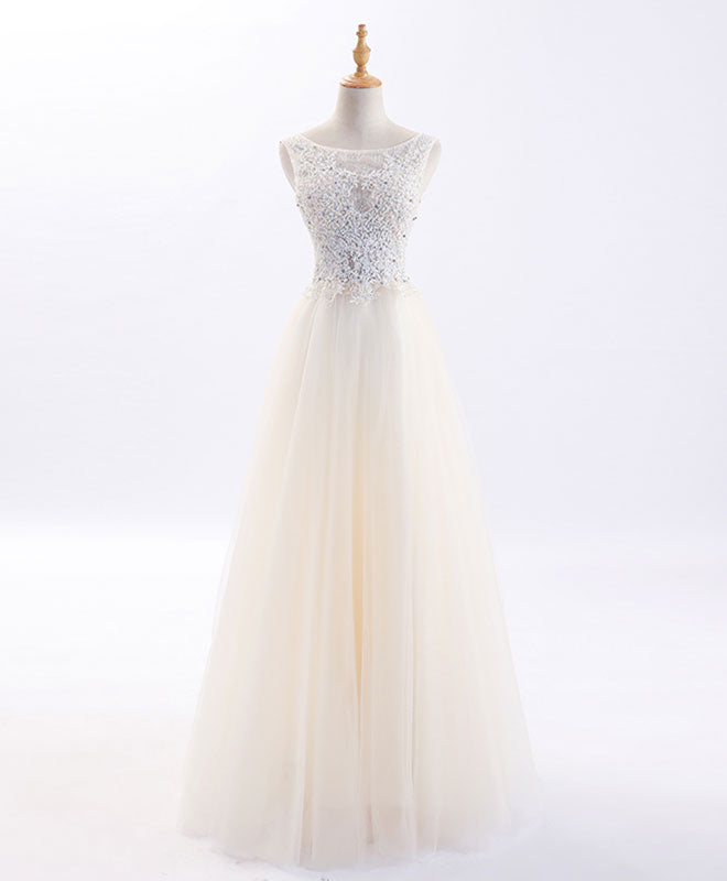 A line tulle lacelong prom dress, evening dress