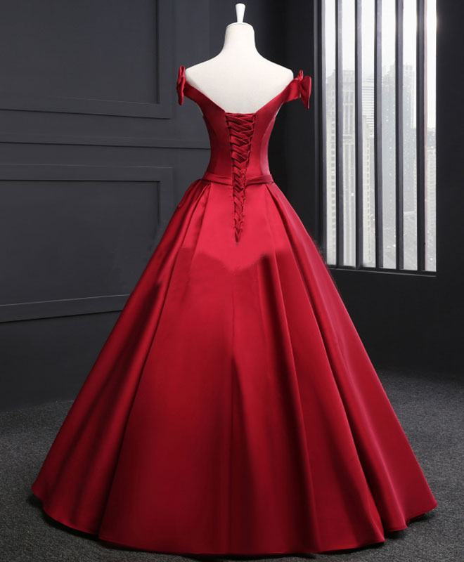 High quality burgundy v nek satin long prom gown, burgundy formal dress