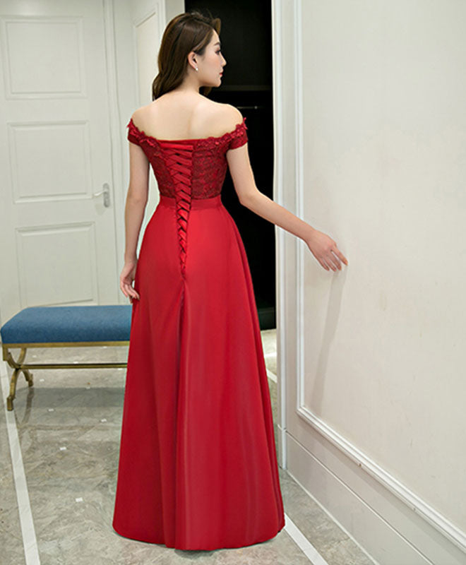 Burgundy lace satin long prom dress, formal adress