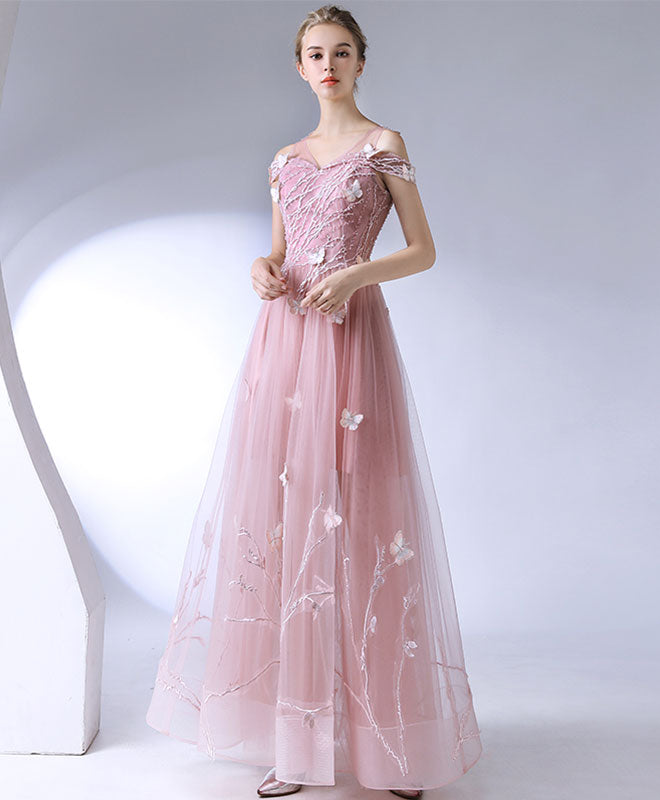 Pink lace tulle long prom dress, pink evening