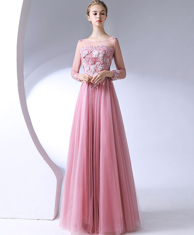 Pink lace tulle long prom dress, long sleeve