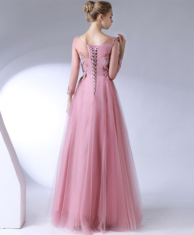 Pink lace tulle long prom dress, long sleeve evening dress