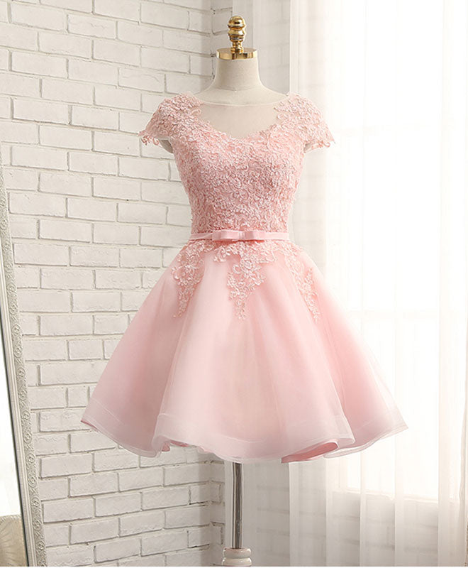 High quality a line lace short prom dress, homecoming dresses