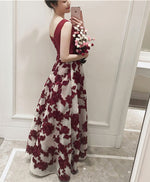 Burgund v neck long prom dress, cheap burgundy dress
