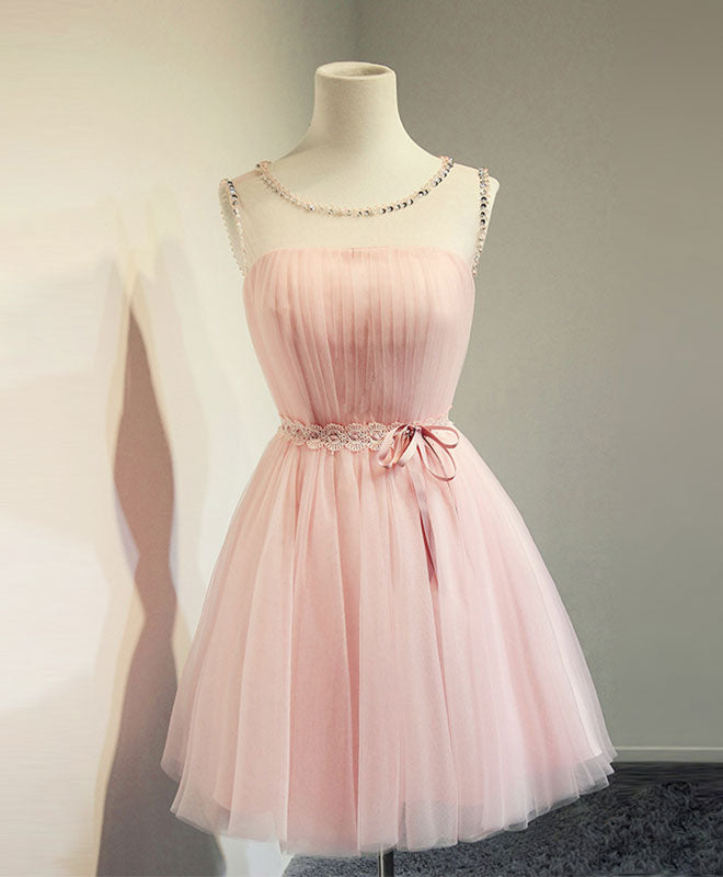 Cute a line pink tulle short prom dress, homecoming dresses