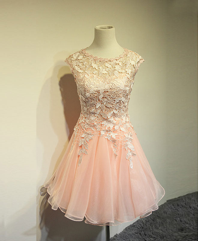 Cute round neck lace short prom dress,homecoming dress