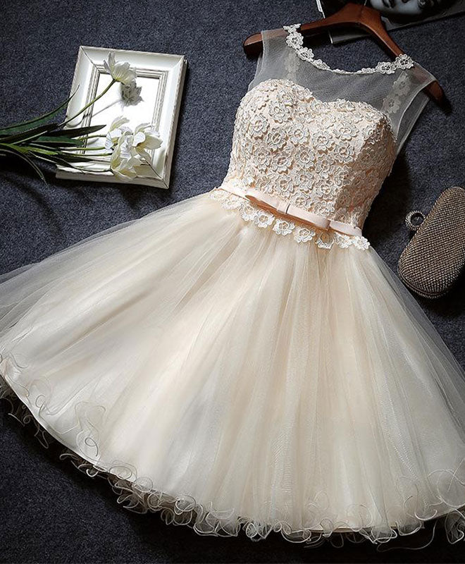 Cute champagne A line lace short prom dress, homecoming dress