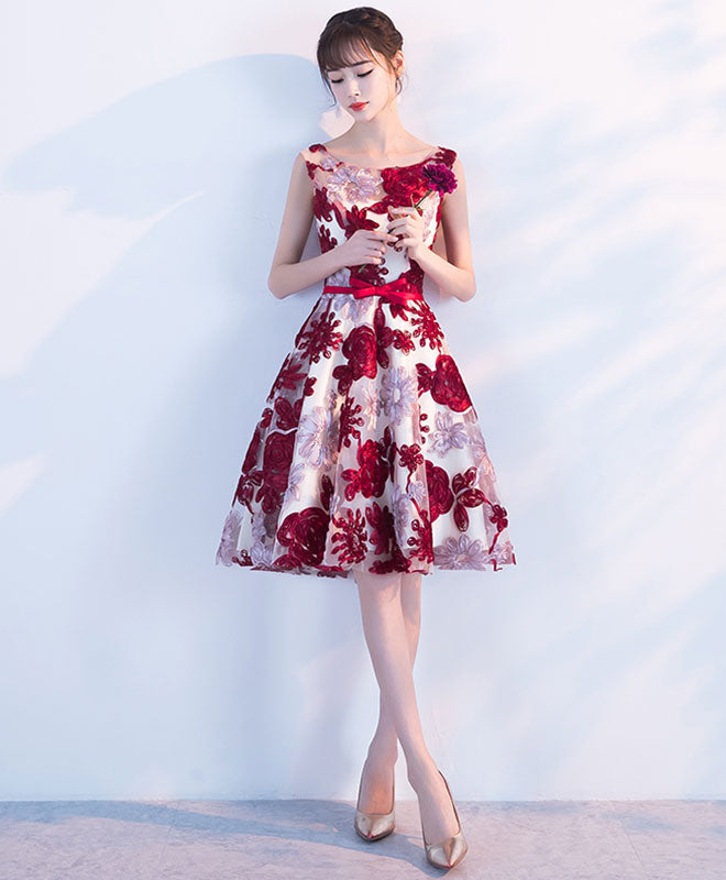 Cute burgundy 3D lace short prom dress, lace homecoming dress