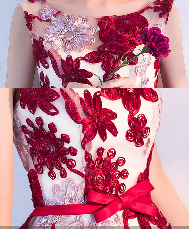 Cute burgundy 3D lace high low prom dress, lace homecoming dress