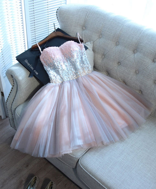 Cute pink sweetheart neck tulle seqsuins short prom dress, cocktail dress