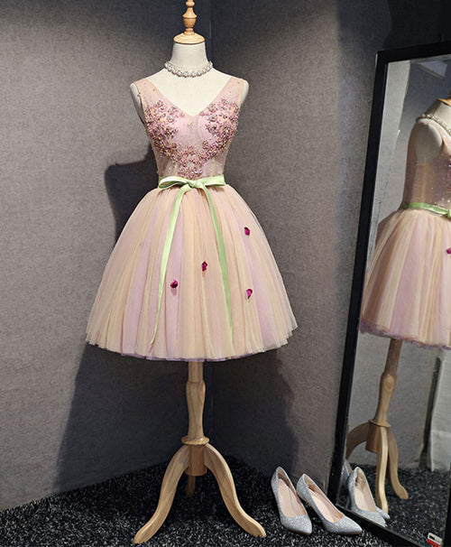 High quality pink v neck tulle short prom dress, homecoming dress