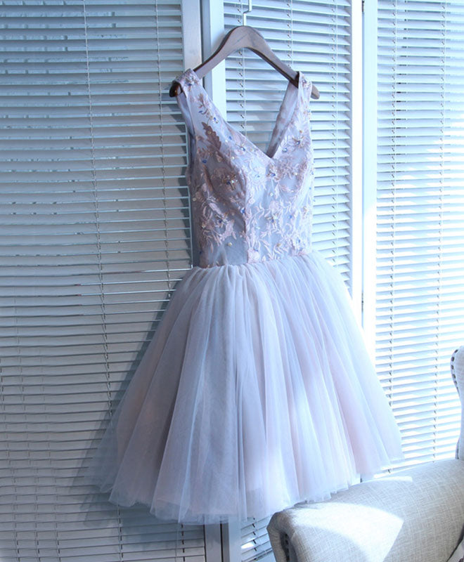 Charming tulle lace A line v neck short prom dress, homecoming dresses